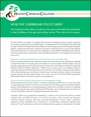 HEALTHY CARIBBEAN POLICY BRIEF Promoting healthy diets, food security and sustainable development in the Caribbean through joint policy action: The role of civil society