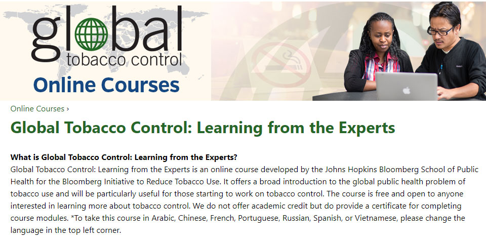 Online Tobacco Control Courses